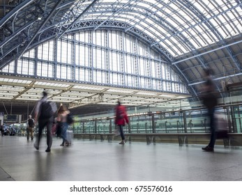 LONDON- JULY 2017: London St Pancras International train station. Central London railway terminus located on Euston Road in the London Borough of Camden.