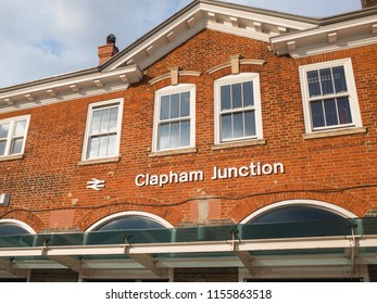 LONDON- JULY, 2018: Clapham Junction railway station exterior, a maor transort hub in Battersea, south west London