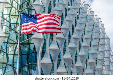 LONDON- JULY, 2018: Exterior close up of the new United States Embassy building and United States flag, Wandsworth