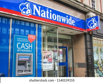 LONDON- JULY, 2018: Nationwide Building Society exterior, a British financial institution with high street branches across the UK