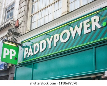 LONDON- JULY, 2018: Paddy Power exterior signage,  an Irish bookmaker with many high street betting shops across the UK.