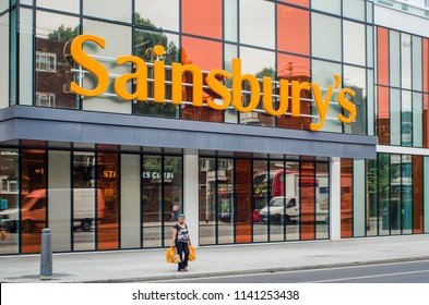 LONDON- JULY, 2018: Sainsbury's supermarket exterior signage. A very large chain of Supermarkets based in the UK