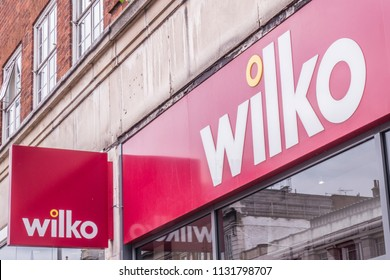 LONDON- JULY, 2018: Wilko high street shop exterior signage - a British chain selling household and homeware goods