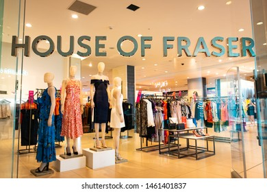 LONDON- JULY, 2019: House of Fraser department store in Westfield London, a large British fashion and homeware retailor