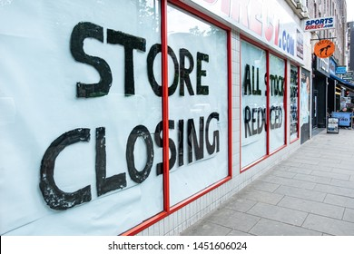 LONDON- JULY, 2019: Store closing sign on high street store in west London