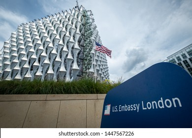 LONDON- JULY, 2019:  United States Embassy building Embassy Gardens development, Nine Elms, Wandsworth, south west London.