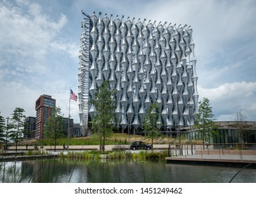 LONDON- JULY, 2019:  United States Embassy building in Nine Elms, Wandsworth, south west London.
