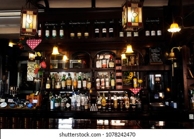LONDON - JULY 22: Interior of pub, for drinking and socializing, focal point of the community, on July 22, 2015, London, UK. Pub business, now about 53,500 pubs in UK, has been declining every year.