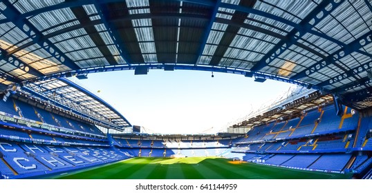 LONDON - JULY 24: Empty seats on a non-match day at the Chelsea FC Stamford Bridge Stadium on September 26, 2016. The stadium capacity is 41,837 making it the