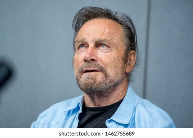 LONDON - JULY 27, 2019: Italian actor Franco Nero (Django, Camelot, Keoma) during the London Film & Comic Con 2019 at the Olympia Exhibition Center, Hammersmith. Editorial use only
