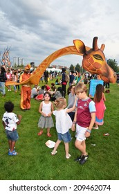 London - July 27: The Great British Carnival in the Queen Elizabeth Park, Stratford London  July 27th, 2014 in London England.