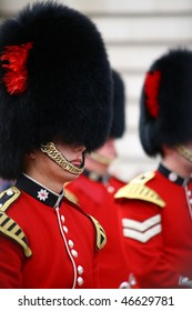 LONDON - JULY 28: Her Majesty's Coldstream Regiment of Foot Guards, also known officially as the Coldstream Guards, performing the Changing of the Guards on July 28, 2009 in London, England.