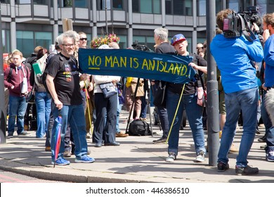 LONDON - July 2nd: Protesters at the march for europe protest on July the 2nd, 2016 in London, england, uk. An estimated 35 thousand attended the march.