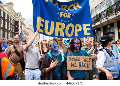 LONDON - July 2nd: Protesters at the march for europe protest on June the 27th, 2016 in London, england, uk. An estimated 35 thousand attended the march.
