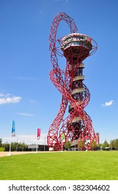 LONDON - JULY 3, 2014. The ArcelorMittal Orbit sculpture at the Queen Elizabeth Olympic Park, a legacy of the Olympic Games designed by Anish Kapoor and Cecil Balmond, at Stratford, London, UK.