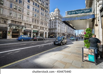 LONDON - JULY 3, 2016 : The exterior of Strand HOTEL Located in London's West End, the Strand Palace Hotel is within 700 metres of the Adelphi and the Vaudeville theatres.