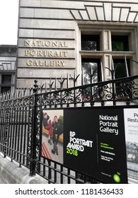 LONDON - JULY 3, 2018: Facade of National Portrait Gallery in Trafalgar Square, Central London. The gallery opened in 1856 and was the first portrait gallery in the world.