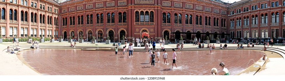 LONDON - JULY 3, 2018: Panoramic view of the Victoria and Albert museum central garden in Cromwell Road, UK. The museum founded in 1852 is the world largest museum of decorative arts and design.