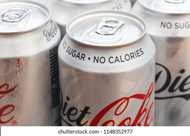 LONDON - July 31, 2018: Group of cold cans of Diet Coke in metal silver tins