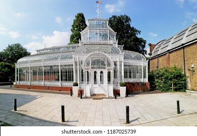 LONDON - JULY 5, 2018: Panoramic view of the Horniman Conservatory in Horniman Museum, Forest Hill, London. The vintage conservatory built in 1894 is a Grade II listed Heritage building in UK.