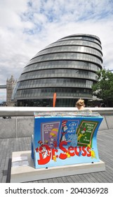LONDON - JULY 5. One of fifty unique temporary BookBench sculptures by local artists celebrate London's literary heritage with famous book titles on July 5, 2014 at various locations across London.