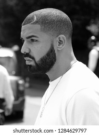 LONDON - JULY 6, 2015: ( Image digitally altered to monochrome ) Drake seen at the Wimbledon Championships
