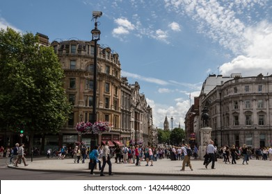 London - July 6th 2014: Big Ben view from Trafalgar square, crowded with tourists
