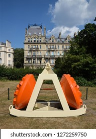 LONDON - JULY 7, 2018.  A powder coated steel sculpture by James Capper in the free public English Gardens, north London, UK.