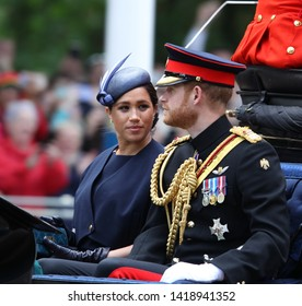 LONDON - JUN 08, 2019. Prince Harry, Duke of Sussex, Meghan, Duchess of Sussex during the Trooping the Colour Queen's birthday parade in central London