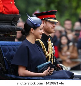 LONDON - JUN 08, 2019: Prince Harry, Duke of Sussex, Meghan, Duchess of Sussex during the Trooping the Colour Queen's birthday parade in central London