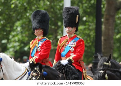 LONDON -JUN 08, 2019: Prince William and Prince Andrew during the Trooping the Colour Queen's birthday parade in central London