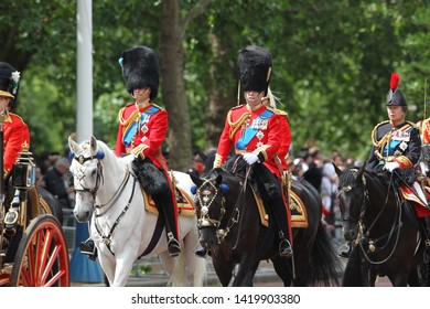 LONDON - JUN 08, 2019: Prince Charles, Prince William and Prince Andrew during the Trooping the Colour Queen's birthday parade
