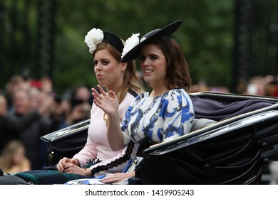 LONDON - JUN 08, 2019: Princesses Beatrice and Eugene during the Trooping the Colour Queen's birthday parade in central London