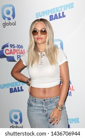 LONDON - JUN 08, 2019: Rita Ora attends the Capital FM Summertime Ball in London