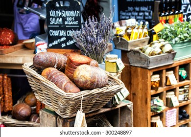 LONDON - JUN 12, 2015: Salami in a basket at Borough market  on Jun 12, 2015 in London, UK.