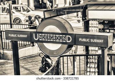 LONDON - JUN 13: London Underground station entrance on June 13, 2015 in London. London Underground is the 11th busiest metro system worldwide with 1.1 billion annual rides