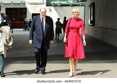 LONDON - JUN 19, 2016: Sir Nicholas Winston Soames and Jane Moore seen at the BBC for the Andrew Marr show on Jun 19, 2016 in London