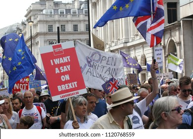 LONDON - JUN 23, 2018: Anti-Brexit March, Thousands attend a pro-EU march marking the second anniversary of the EU referendum.