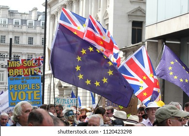 LONDON - JUN 23, 2018: General view at the Anti-Brexit March, Thousands attend a pro-EU march marking the second anniversary of the EU referendum.
