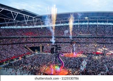 LONDON - JUN 23: Taylor Swift performs in concert at Wembley Stadium on June 23, 2018 in London, United Kingdom.