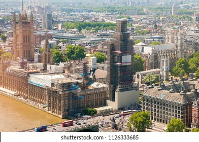 LONDON - JUN 24: Aerial view of the city on June 24, 2018 in London, United Kingdom.