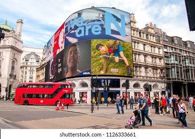 LONDON - JUN 24: Piccadilly Circus on June 24, 2018 in London, United Kingdom.
