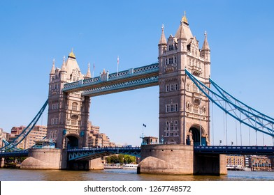 LONDON - JUN 24: View of the Tower Bridge over the River Thames on June 24, 2018 in London, United Kingdom.