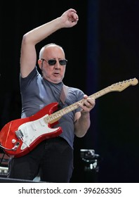 LONDON - JUN 26, 2015: Pete Townshend of The Who on stage at the British Summer Time concert, Hyde Park on Jun 26, 2015 in London