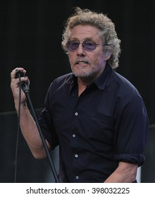 LONDON - JUN 26, 2015: Roger Daltrey of The Who on stage at the British Summer Time concert, Hyde Park on Jun 26, 2015 in London