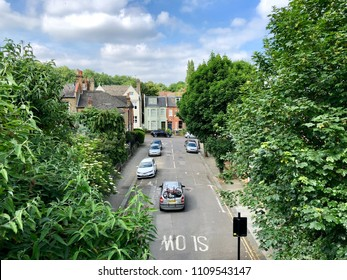 LONDON - JUNE 10, 2018: Cars on a residential street in Highgate, North London, UK.