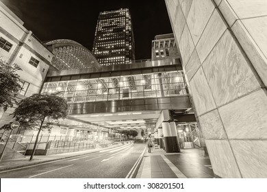 LONDON - JUNE 15, 2015: Canary Wharf at night. Canary Wharf with its tall buildings is the main financial district in the city of London.