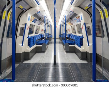 LONDON - JUNE 16, 2015: Empty underground wagon. The Underground system serves 270 stations and has 402 kilometres (250 mi) of track, 45 per cent of which is underground.