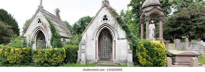 LONDON - JUNE 17, 2018: Facade of Gothic catacomb in West Norwood Cemetery and Crematorium in Norwood Rd, UK. The historical cemetery is one of the Magnificent Seven cemeteries of London.