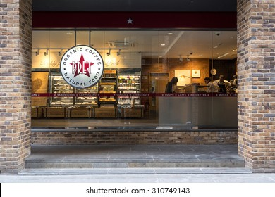 LONDON - JUNE 18, 2015: Pret A Manger restaurant. Pret A Manger is a British sandwich retail chain, the first shop was opened in London in 1984 by Jeffrey Hyman.